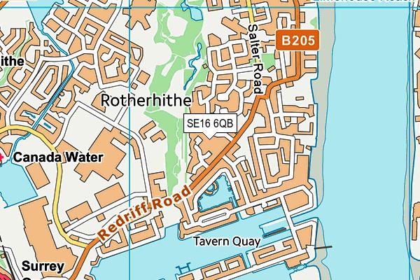 SE16 6QB map - OS VectorMap District (Ordnance Survey)