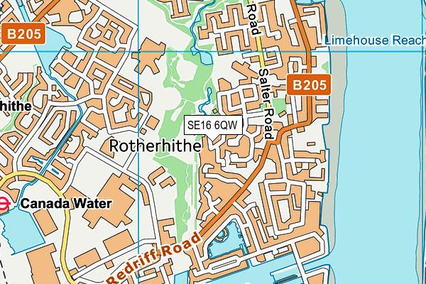 SE16 6QW map - OS VectorMap District (Ordnance Survey)