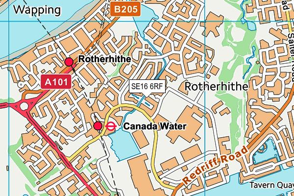 SE16 6RF map - OS VectorMap District (Ordnance Survey)
