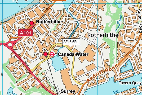 SE16 6RL map - OS VectorMap District (Ordnance Survey)