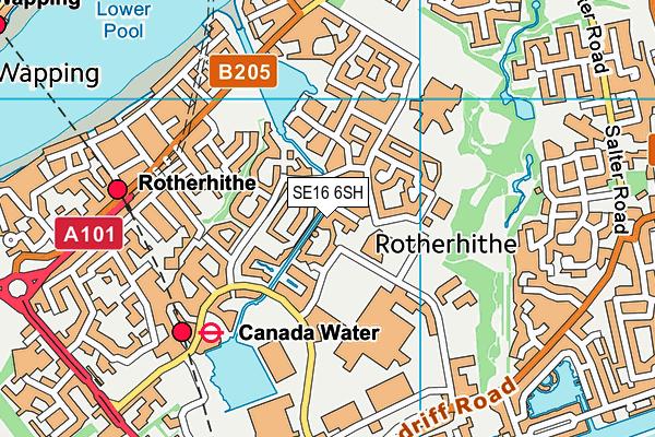 SE16 6SH map - OS VectorMap District (Ordnance Survey)