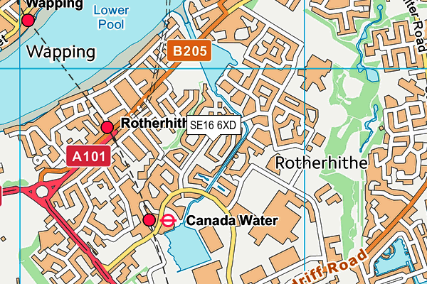 SE16 6XD map - OS VectorMap District (Ordnance Survey)