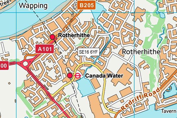 SE16 6YF map - OS VectorMap District (Ordnance Survey)
