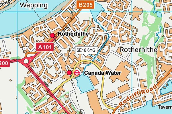 SE16 6YG map - OS VectorMap District (Ordnance Survey)