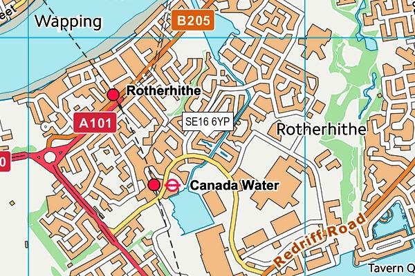 SE16 6YP map - OS VectorMap District (Ordnance Survey)
