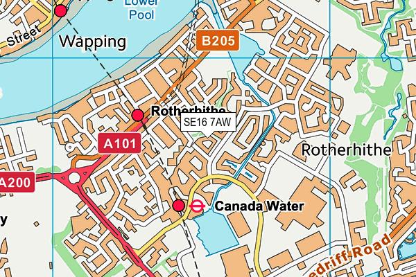 SE16 7AW map - OS VectorMap District (Ordnance Survey)