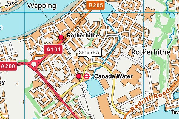 SE16 7BW map - OS VectorMap District (Ordnance Survey)