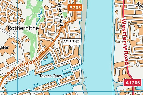 SE16 7HQ map - OS VectorMap District (Ordnance Survey)