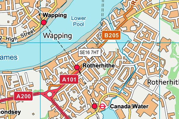 SE16 7HT map - OS VectorMap District (Ordnance Survey)