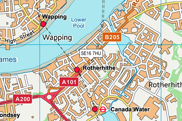 SE16 7HU map - OS VectorMap District (Ordnance Survey)