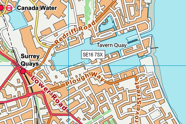 Surrey Docks Watersports Centre map (SE16 7SX) - OS VectorMap District (Ordnance Survey)