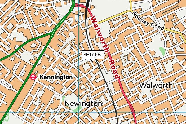 SE17 9BJ map - OS VectorMap District (Ordnance Survey)