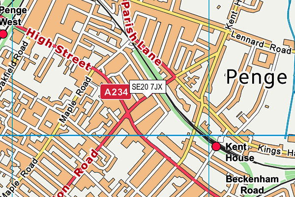 Penge Library map (SE20 7JX) - OS VectorMap District (Ordnance Survey)