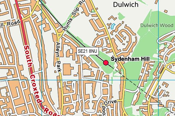se21 8nu map os vectormap district ordnance survey