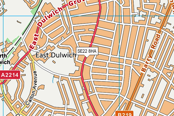 Harris Primary Academy East Dulwich map (SE22 8HA) - OS VectorMap District (Ordnance Survey)