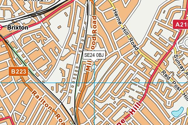 Jessop Primary School map (SE24 0BJ) - OS VectorMap District (Ordnance Survey)