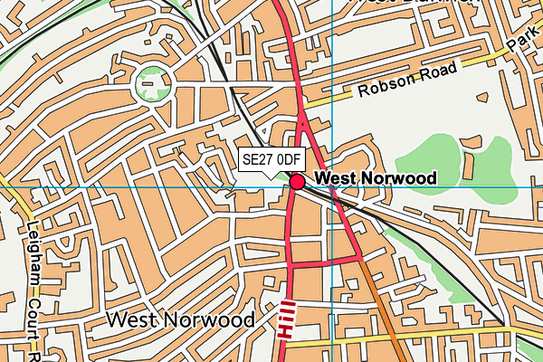 West Norwood Health and Leisure Centre map (SE27 0DF) - OS VectorMap District (Ordnance Survey)