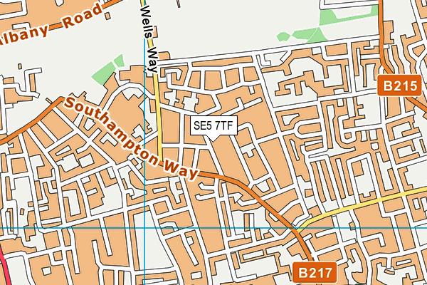SE5 7TF map - OS VectorMap District (Ordnance Survey)