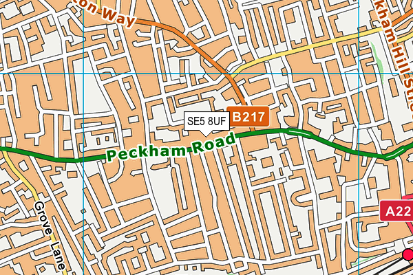 Camberwell College of Arts map (SE5 8UF) - OS VectorMap District (Ordnance Survey)