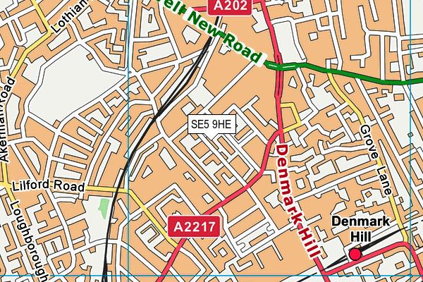 SE5 9HE map - OS VectorMap District (Ordnance Survey)