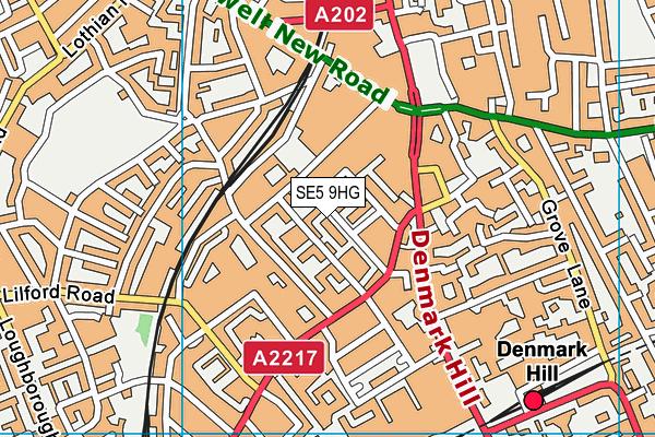 SE5 9HG map - OS VectorMap District (Ordnance Survey)