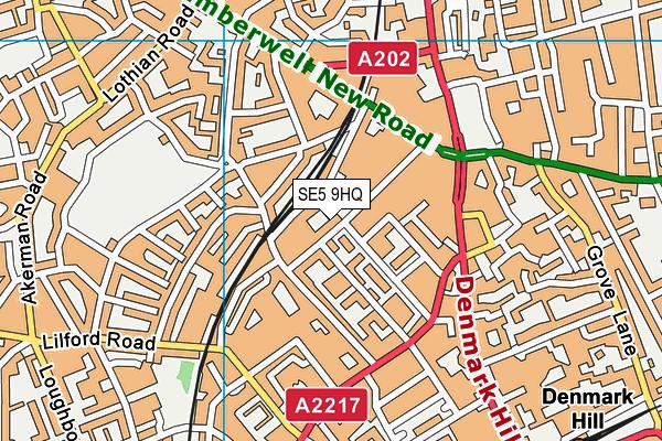 SE5 9HQ map - OS VectorMap District (Ordnance Survey)