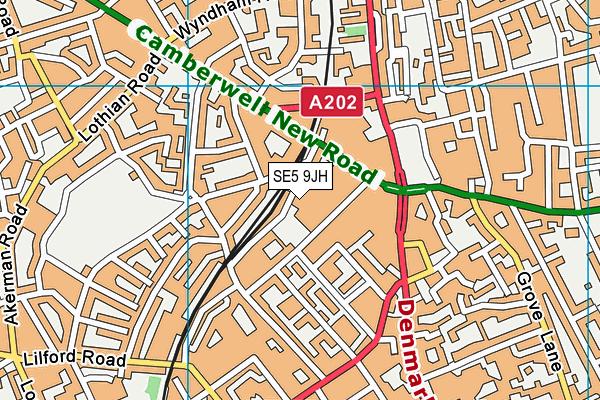 SE5 9JH map - OS VectorMap District (Ordnance Survey)