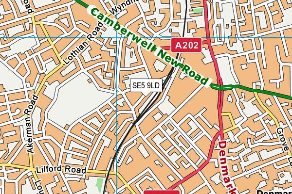 SE5 9LD map - OS VectorMap District (Ordnance Survey)