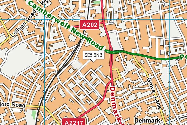 SE5 9NB map - OS VectorMap District (Ordnance Survey)