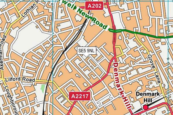 SE5 9NL map - OS VectorMap District (Ordnance Survey)