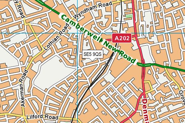 SE5 9QS map - OS VectorMap District (Ordnance Survey)