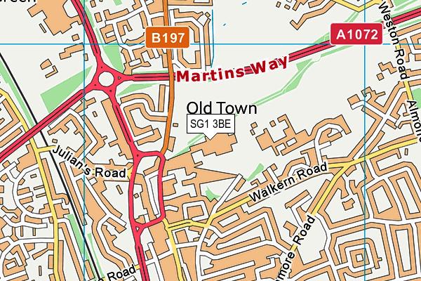 The Thomas Alleyne Academy map (SG1 3BE) - OS VectorMap District (Ordnance Survey)