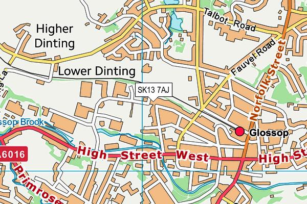 The Unit Fitness map (SK13 7AJ) - OS VectorMap District (Ordnance Survey)