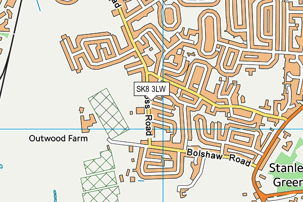 Bolshaw Primary School map (SK8 3LW) - OS VectorMap District (Ordnance Survey)