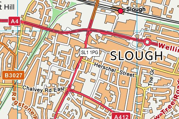 Buzz Gym (Slough) map (SL1 1PG) - OS VectorMap District (Ordnance Survey)