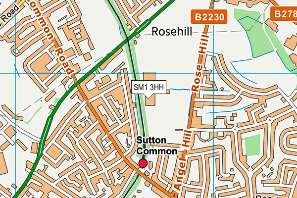 Sutton Sports Village map (SM1 3HH) - OS VectorMap District (Ordnance Survey)