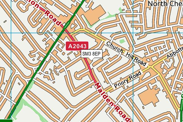 Cheam Leisure Centre map (SM3 8EP) - OS VectorMap District (Ordnance Survey)