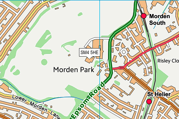 Morden Park Pools map (SM4 5HE) - OS VectorMap District (Ordnance Survey)