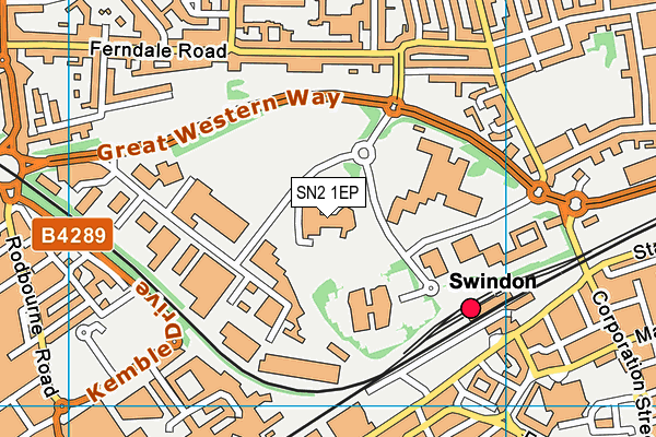 Oasis Leisure Centre, Swindon map (SN2 1EP) - OS VectorMap District (Ordnance Survey)