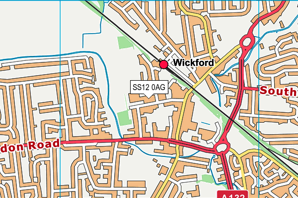 Wickford Swimming Pool map (SS12 0AG) - OS VectorMap District (Ordnance Survey)