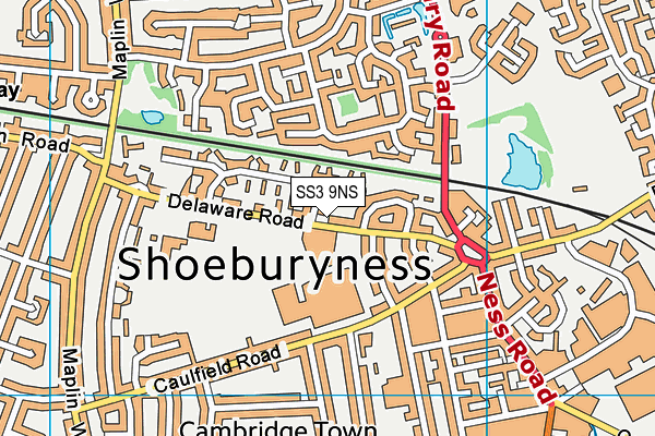 Shoeburyness Leisure Centre map (SS3 9NS) - OS VectorMap District (Ordnance Survey)