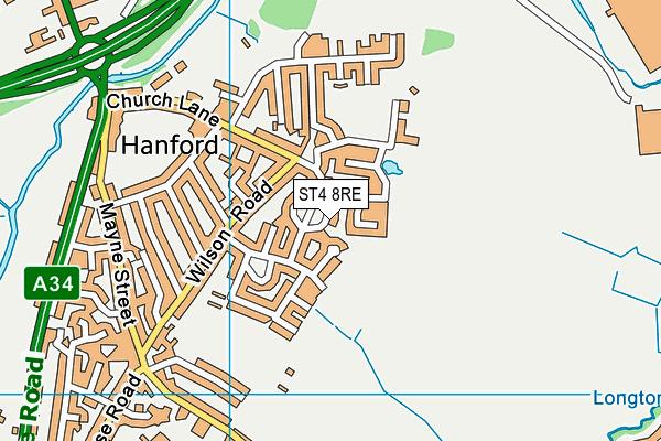 ST4 8RE map - OS VectorMap District (Ordnance Survey)