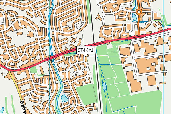 ST4 8YJ map - OS VectorMap District (Ordnance Survey)