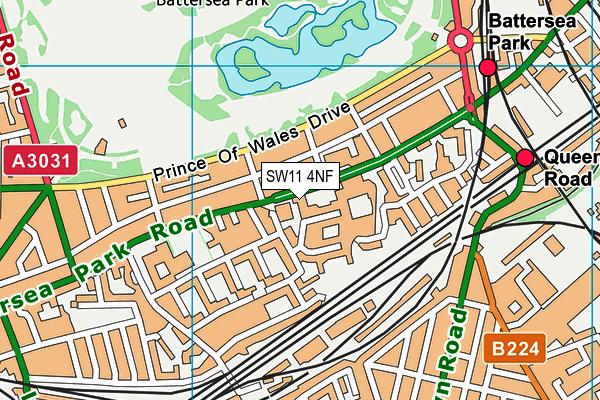 Battersea Park Library map (SW11 4NF) - OS VectorMap District (Ordnance Survey)