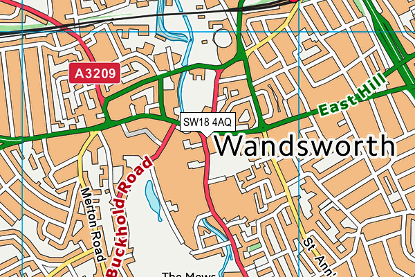Wandsworth Town Library map (SW18 4AQ) - OS VectorMap District (Ordnance Survey)