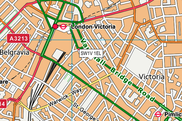 Queen Mother Sport Centre map (SW1V 1EL) - OS VectorMap District (Ordnance Survey)
