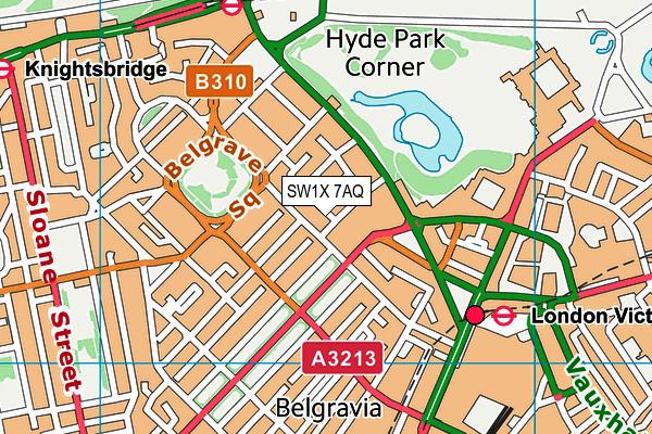 SW1X 7AQ map - OS VectorMap District (Ordnance Survey)