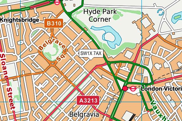 SW1X 7AX map - OS VectorMap District (Ordnance Survey)
