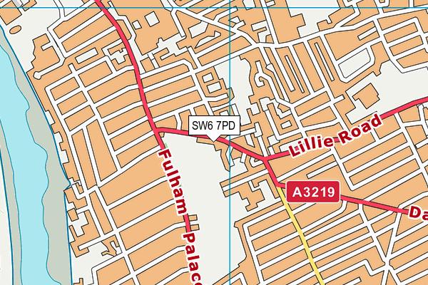 Lillie Road Fitness Centre map (SW6 7PD) - OS VectorMap District (Ordnance Survey)