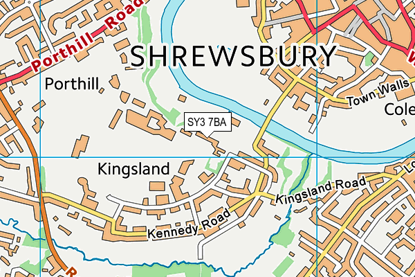 Shrewsbury School map (SY3 7BA) - OS VectorMap District (Ordnance Survey)